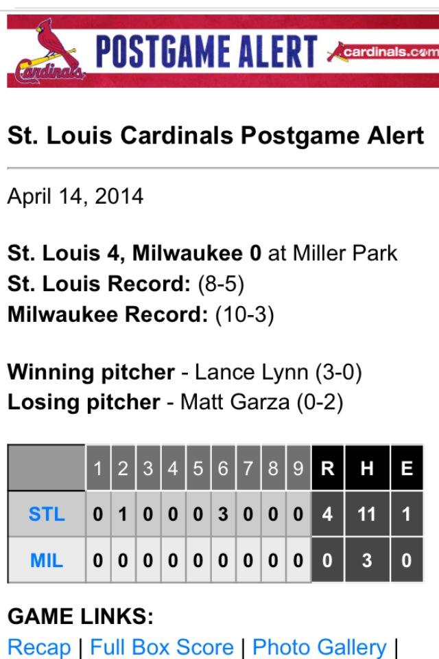 Good win tonight. #stlcards #mlb