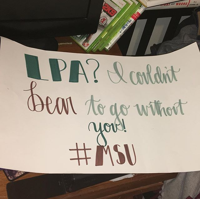 Cool way of asking Taylor to go to LPA! #missouristate #bearup #dadlife