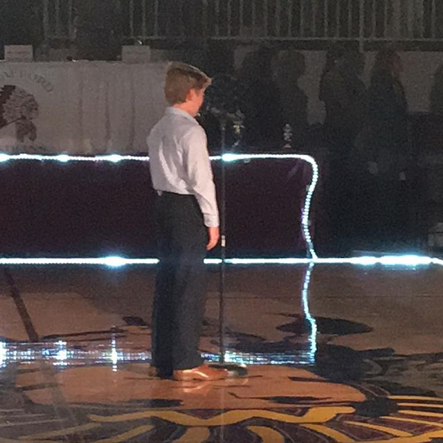 So proud of Tucker singing the National Anthem tonight at Strafford  HS Dancing with the Stars