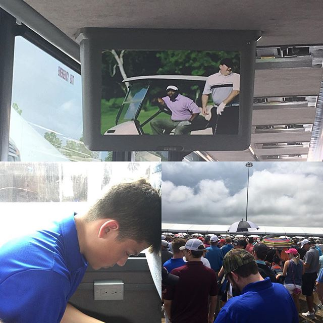 Waiting…in line…and on a bus watching golf. Rain delay at the course. Bummer. #pga #pgachampionship #bellerive